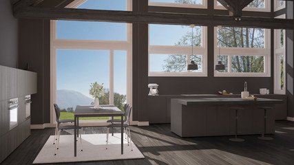 Modern kitchen in classic villa, loft, big panoramic windows on summer spring meadow, white and gray minimalist interior design