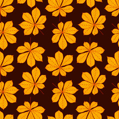 Pretty colorful seamless pattern made of hand drawn chestnut leaves.