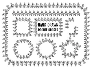 Vector set of hand drawn doodle border