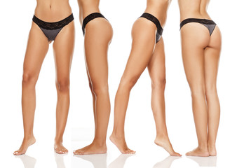 collage of pretty, nice groomed woman's legs in black panties on white background