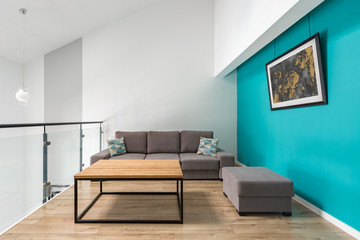 Room with turquoise wall