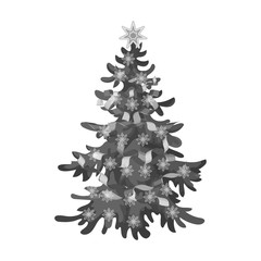 Christmas tree single icon in monochrome style for design. Christmas vector symbol stock illustration web.