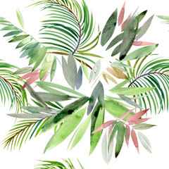 Tropical plant. exotic watercolor background. paradise nature.