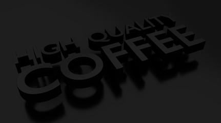 Coffee 3D text over dark surface