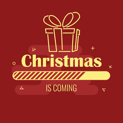 Christmas is coming. Progress bar and gift on red background.