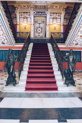 Achilleion palace of Empress of Austria Elisabeth of Bavaria, in Gastouri. Main hall and staircase.