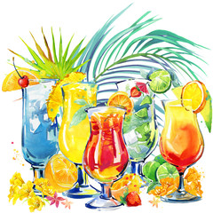Hand drawn watercolor illustration of cocktail fruit