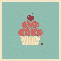 Cupcake. Stylized vector image.