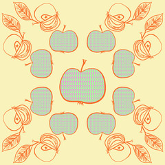 Apples pattern, scribbles. Hand drawn.