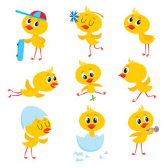 Cartoon set with cute baby chicken character running, flying, training, sitting in egg shell, vector illustration on white background. Cute Easter newborn baby chicken character doing various things