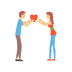 Young boy giving his heart to cute girl. Man and woman attracted to each other. Love chat promo concept. Vector illustration in flat style