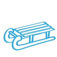 Handgezeichneter Schlitten in blau