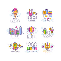 Creative colorful kids logo set in line style. Ice cream, alien, gifts, air balloon, castle, rocket, cubes, bunny, paint and pencil