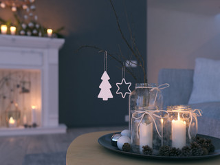 3d rendering. home with advent decoration in modern apartment. 1. advent.