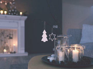 3d rendering. home with advent decoration in modern apartment. 1. advent. filterd version
