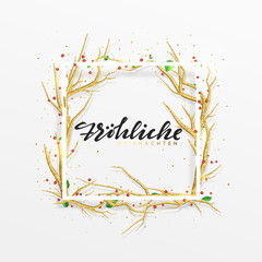 German text Frohliche Weihnachten. Merry Christmas greeting cards. Xmas background with decor elements golden branches from trees. Elegant Holiday Frame.