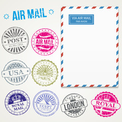 Air mail stamps and envelope vector