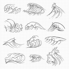 Sketch of expressive ocean waves