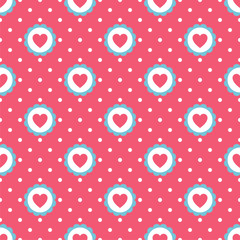 Hearts Seamless Pattern with dot