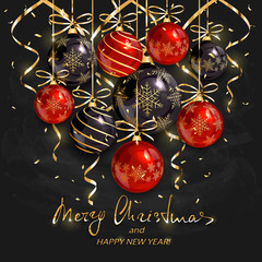 Red and black Christmas balls and golden streamers on black chalkboard background