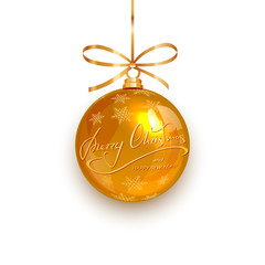 Gold ball with snowflakes and text Merry Christmas and Happy New Year