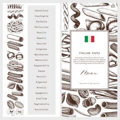 Vector menu template with traditional Italian pasta. Hand drawn food sketch.  Vintage card or invitation design for cafe or restaurant design. Outlines on white background.