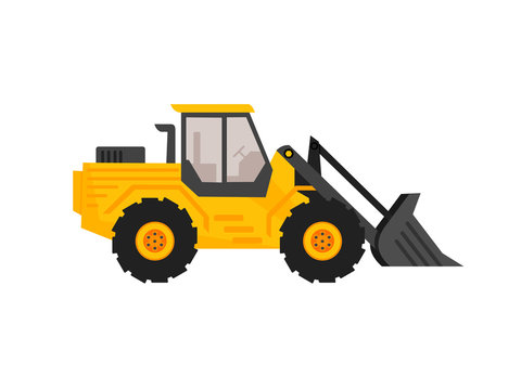end loader vehicle flat cartoon style. bulldozer quarry machine. stone wheel yellow digger. backhoe front loader truck. work tractor excavator. vector illustration.