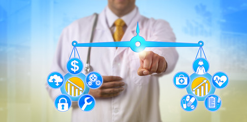 Doctor Balancing Cost And Healthcare Improvement
