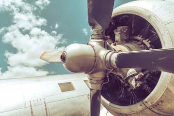 Old aircraft close up.
