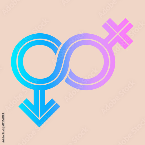 Gender Fluid Blue To Pink Gradient Icon On Peach Background The