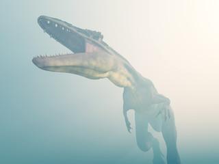 Dinosaurier Tyrannotitan im Nebel