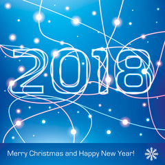 Merry Christmas and Happy New Year! 2018. Glowing neon lines on a blue background, holiday card for your business project, vector design art