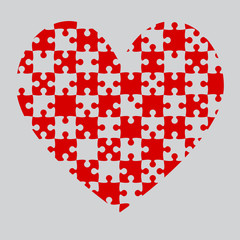 Red Puzzle Heart Pieces - JigSaw - Field Chess