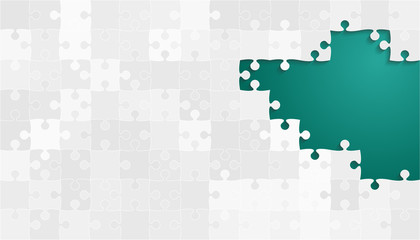 White Grey Puzzles Pieces - Vector Teal Jigsaw