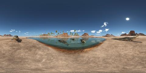 360 Grad Panorama mit dem prähistorischen Krokodil Sarcosuchus
