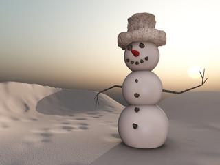 Schneemann in der Abenddämmerung
