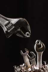 Adjustable Wrench Feeding Baby Wrenches In A Nest Of Nails