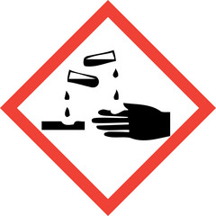 Hazard sign with corrosive substances