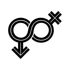 Gender Fluid Black Inline Icon. The icon incorporates the symbol of infinity to represent the multitude ways gender expresses itself in humanity.