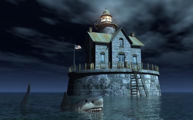 Haifisch vor Wohnhaus mit Leuchtturm im Meer bei Nacht