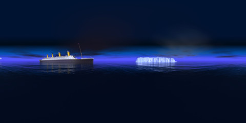 360 Grad Panorama mit Titanic und Eisberg