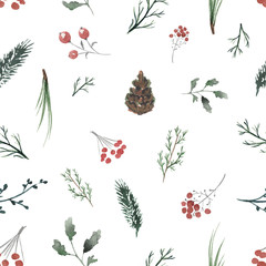 Seamless background pattern with twigs, berries and fir cones. Watercolor hand drawn illustration