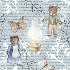 Seamless background pattern with kerosene lamp, butterflies, twigs and bears. Watercolor hand drawn illustration