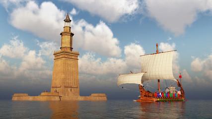 Leuchtturm von Alexandria und antikes römisches Kriegsschiff