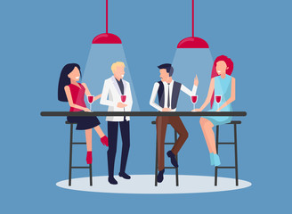 People Drinking and Having Fun Vector Illustration