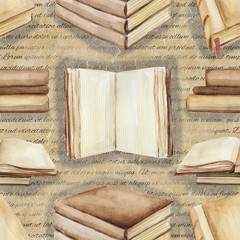 Seamless background pattern with books. Watercolor hand drawn illustration