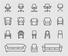 Chair and Sofa of front view line icon