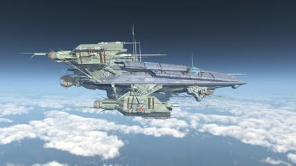 Großes Raumschiff über den Wolken
