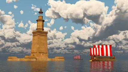 Leuchtturm von Alexandria und antike griechische Segelschiffe