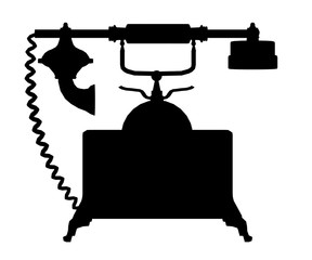 Silhouette of a vintage telephone